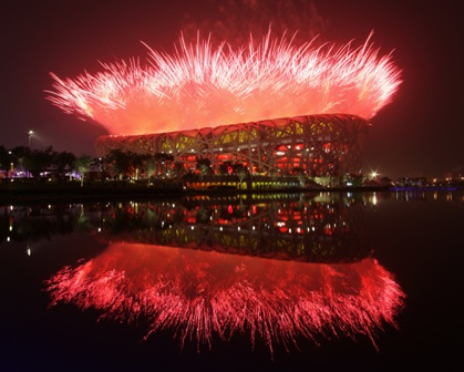 Fireworks explode over the National stadium during the Opening Ceremony for the Beijing 2008 Olympic Games at the National Stadium on August 8 in Beijing, China.